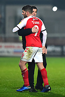 Fleetwood Town manager Joey Barton  embraces Fleetwood Town's Ched Evans<br /> <br /> Photographer Richard Martin-Roberts/CameraSport<br /> <br /> The EFL Sky Bet League One - Fleetwood Town v Coventry City - Tuesday 27th November 2018 - Highbury Stadium - Fleetwood<br /> <br /> World Copyright &not;&copy; 2018 CameraSport. All rights reserved. 43 Linden Ave. Countesthorpe. Leicester. England. LE8 5PG - Tel: +44 (0) 116 277 4147 - admin@camerasport.com - www.camerasport.com