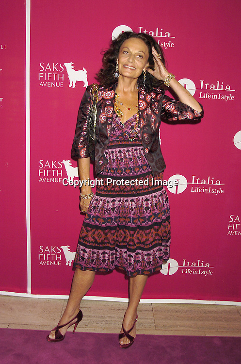 Diane Von Furstenberg....at the launch of  Wild About Cashmere Party at Saks Fifth Avenue benefitting The Central Park Conservancy  on September 20, 2005...Photo by Robin Platzer, Twin Images