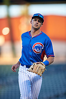 AZL Cubs 2 second baseman Chase Strumpf (15) jogs off the field between innings of an Arizona League game against the AZL Dbacks on June 25, 2019 at Sloan Park in Mesa, Arizona. AZL Cubs 2 defeated the AZL Dbacks 4-0. (Zachary Lucy/Four Seam Images)