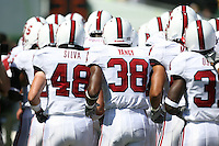 2 September 2006: Mike Silva (48), Austin Yancy (38) and the team during Stanford's 48-10 loss to the Oregon Ducks at Autzen Stadium in Eugene, OR.