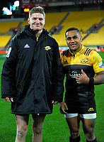 New All Blacks Jordie Barrett and Ngani Laumape after the Super Rugby match between the Hurricanes and Chiefs at Westpac Stadium in Wellington, New Zealand on Friday, 9 June 2017. Photo: Dave Lintott / lintottphoto.co.nz