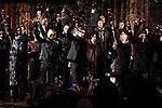 Fashion designer John Varvatos poses with models at the close of his John Varvatos 2.0 Fall Winter 2018 collection fashion show, at The Angel Orensanz Foundation in New York City, on January 26, 2018.