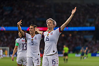 PARIS,  - JUNE 28: Megan Rapinoe #15 celebrates her goal with teammate Kelley O'Hara #5 during a game between France and USWNT at Parc des Princes on June 28, 2019 in Paris, France.