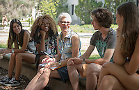 Gretchen North, Professor, Biology. Incoming first years meet with their faculty advisors during the Major Information Sessions & Advising part of Orientation in the Academic Quad, Aug. 24, 2015.<br />
