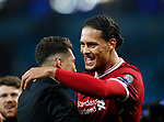 Liverpool's Virgil Van Dijk celebrates at the final whistle during the Champions League Quarter Final 2nd Leg match at the Etihad Stadium, Manchester. Picture date: 10th April 2018. Picture credit should read: David Klein/Sportimage