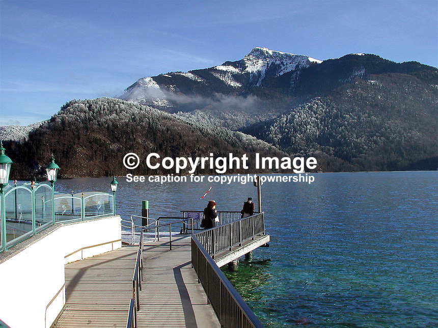 Lake, mountain, view, St Gilgen, Salzburg, Austria, 2000121313..Copyright Image from Victor Patterson, 54 Dorchester Park, Belfast, UK, BT9 6RJ..Tel: +44 28 9066 1296.Mob: +44 7802 353836.Voicemail +44 20 8816 7153.Skype: victorpattersonbelfast.Email: victorpatterson@mac.com.Email: victorpatterson@ireland.com (back-up)..IMPORTANT: If you wish to use this image or any other of my images please go to www.victorpatterson.com and click on the Terms & Conditions. Then contact me by email or phone with the reference number(s) of the image(s) concerned.