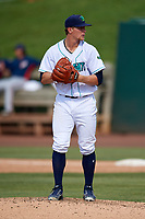 Lynchburg Hillcats starting pitcher Zach Plesac (30) during the first game of a doubleheader against the Potomac Nationals on June 9, 2018 at Calvin Falwell Field in Lynchburg, Virginia.  Lynchburg defeated Potomac 5-3.  (Mike Janes/Four Seam Images)