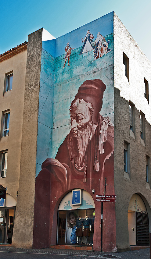 Portrait of Nostradamus on the side of a building in Salon-de-Provence. Nostradamus lived in Salon during the last 20 years of his life.