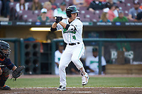 Stuart Fairchild (4) of the Dayton Dragons at bat against the Bowling Green Hot Rods at Fifth Third Field on June 9, 2018 in Dayton, Ohio. The Hot Rods defeated the Dragons 1-0.  (Brian Westerholt/Four Seam Images)