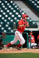 Canadian Junior National Team Noah Hull (34) follows through on a swing during a Florida Instructional League game against the Atlanta Braves on October 9, 2018 at the ESPN Wide World of Sports Complex in Orlando, Florida.  (Mike Janes/Four Seam Images)