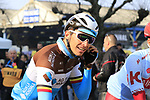 Oliver Naesen (BEL) AG2R La Mondiale before the start of the 2019 Ronde Van Vlaanderen 270km from Antwerp to Oudenaarde, Belgium. 7th April 2019.<br /> Picture: Eoin Clarke | Cyclefile<br /> <br /> All photos usage must carry mandatory copyright credit (&copy; Cyclefile | Eoin Clarke)