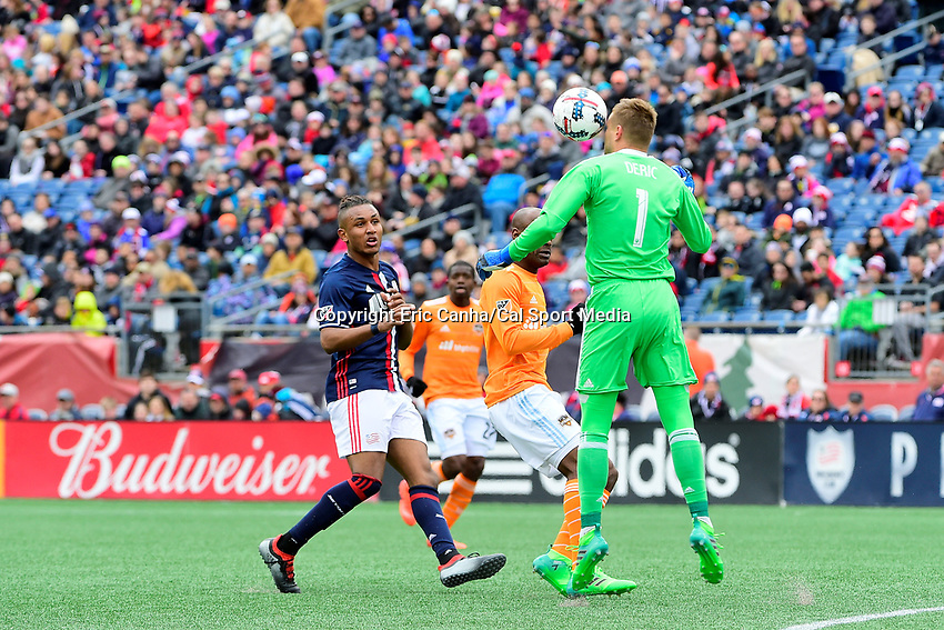 Saturday, April 8, 2017: Houston Dynamo goalkeeper Tyler Deric (1) makes a save with his face during the MLS game between Houston Dynamo and the New England Revolution held at Gillette Stadium in Foxborough Massachusetts. New England defeats Houston 2-0. Eric Canha/CSM