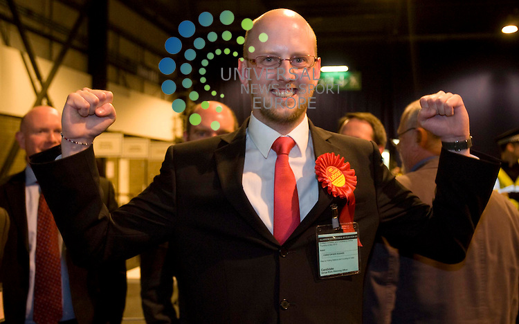 Christopher Hughes wins Drumchapel/Anniesland By-Election taking the seat of Stephen Purcel during the general election count at the Scottish Exhibition Centre (SECC), Glasgow..6 May 2010 Picture: Maurice McDonald/Universal News And Sport (Europe)...
