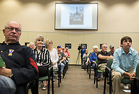 NWA Democrat-Gazette/CHARLIE KAIJO Benton County residents listen to a presentation on the Confederate statue in Bentonville Square at the Walmart Auditorium in the Shewmaker Center for Workforce Technologies, NWACC Campus in Bentonville, AR on Saturday, September 9, 2017. Community members discussed opinions on the Confederate soldier statue in the Bentonville Square and what should be done about it.