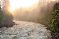 Sunrise on the Merced River. Yosemite National Park, California