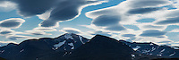 Clouds over mountain peaks between Abiskojaure and Alesjaure, Kungsleden trail, Lapland, Sweden