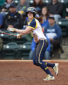 Michigan Wolverines outfielder Nicole Sappingfield (15) at bat during the season opener against the Florida Gators on February 8, 2014 at the USF Softball Stadium in Tampa, Florida.  Florida defeated Michigan 9-4 in extra innings.  (Copyright Mike Janes Photography)