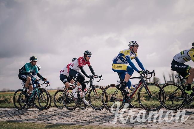 Christophe Noppe BEL/Sport Vlaanderen-Baloise) over the cobbles<br /> <br /> Driedaagse Brugge-De Panne 2018<br /> Bruges - De Panne (202km)