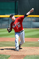 New Britain Rock Cats pitcher Logan Darnell #15 during a game against the Erie Seawolves on June 20, 2013 at Jerry Uht Park in Erie, Pennsylvania.  New Britain defeated Erie 2-0.  (Mike Janes/Four Seam Images)