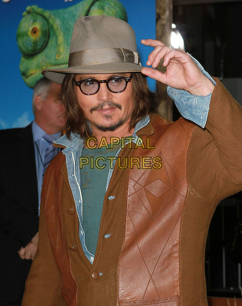 "JOHNNY DEPP.""Rango"" Los Angeles Premiere held At The Regency Village Theatre, Westwood, California, USA..February 14th, 2011.half length jeans grey gray hat glasses goatee facial hair brown leather jacket blue green shirt t-shirt hand  .CAP/ADM/KB.©Kevan Brooks/AdMedia/Capital Pictures."