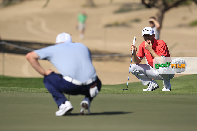 Michael HOEY (NIR) on the 14th green during Thursday's Round 1 of the 2015 Omega Dubai Desert Classic held at the Emirates Golf Club, Dubai, UAE.: Picture Eoin Clarke, www.golffile.ie: 1/29/2015