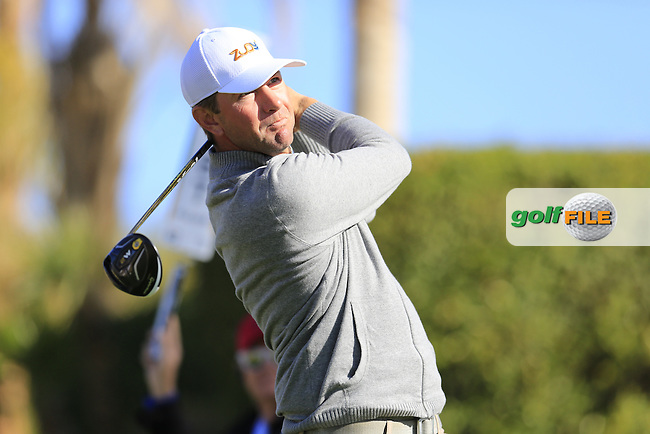 Lucas Glover (USA) tees off the 2nd tee during Saturday's Round 3 of the 2017 CareerBuilder Challenge held at PGA West, La Quinta, Palm Springs, California, USA.<br /> 21st January 2017.<br /> Picture: Eoin Clarke | Golffile<br /> <br /> <br /> All photos usage must carry mandatory copyright credit (&copy; Golffile | Eoin Clarke)