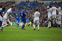Lee Tomlin of Cardiff City sees his free kick shot at goal deflected wide during the Sky Bet Championship match between Cardiff City and Derby County at Cardiff City Stadium, Cardiff, Wales on 30 September 2017. Photo by Mark  Hawkins / PRiME Media Images.