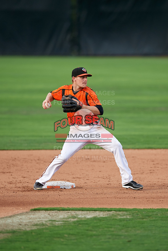 Bowie Baysox second baseman Corban Joseph (5) turns a double play during the first game of a doubleheader against the Trenton Thunder on June 13, 2018 at Prince George's Stadium in Bowie, Maryland.  Trenton defeated Bowie 4-3.  (Mike Janes/Four Seam Images)