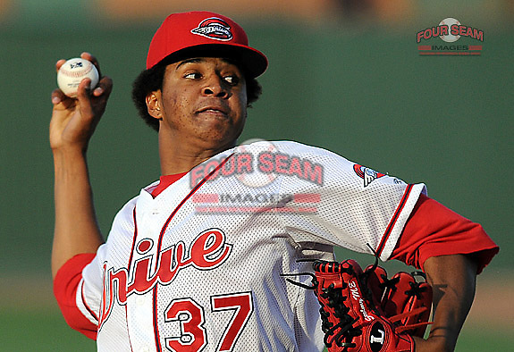 June 2, 2009: RHP Stolmy Pimentel (37) of the Greenville Drive  pitches in a game against the Asheville Tourists at Fluor Field at the West End in Greenville, S.C. Photo by: Tom Priddy/Four Seam Images
