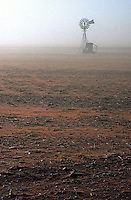 A water well in a dust storm during a drought in South Australia, climate change