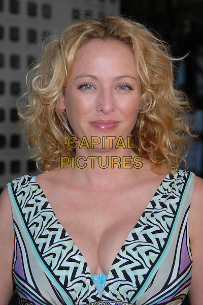 "VIRGINIA MADSEN.""Eye of the Dolphin"" Los Angeles Premiere at the ArcLight Theatre, Hollywood, California, USA..August 21st, 2007.headshot portrait cleavage black white pattern green .CAP/ADM/BP.©Byron Purvis/AdMedia/Capital Pictures"