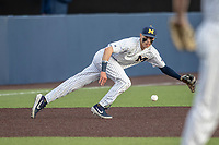 Michigan Wolverines third baseman Blake Nelson (10) dives for a grounder during the NCAA baseball game against the Eastern Michigan Eagles on May 8, 2019 at Ray Fisher Stadium in Ann Arbor, Michigan. Michigan defeated Eastern Michigan 10-1. (Andrew Woolley/Four Seam Images)