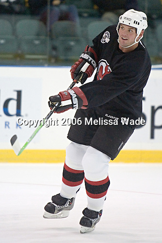 Colin White passes the puck during a drill. The New Jersey Devils and prospects took part in their second official on-ice day of training camp on Saturday, September 16, 2006 at the Richard E. Codey Rink at South Mountain in West Orange, New Jersey.<br />