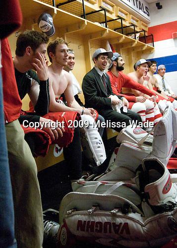 Grant Rollheiser (BU - 35), Vinny Saponari (BU - 27), Andrew Glass (BU - 14), Joe Pereira (BU - 6), Brian Strait (BU - 7), Colin Wilson (BU - 33), Corey Trivino (BU - 9), Victor Saponari (BU - 17) - The Boston University Terriers celebrated their NCAA D1 National Title win in the 2009 Frozen Four Final on Saturday, April 11, 2009, at the Verizon Center in Washington, DC.