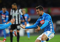 17th March 2019, Stadio San Paolo, Naples, Italy; Serie A football, Napoli versus Udinese; Amin Younes of Napoli celebrates after scoring his goal in the 17th minute 1-0