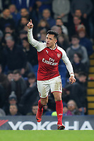 Alexis Sanchez of Arsenal wants the ball as he runs upfield unmarked during Chelsea vs Arsenal, Caraboa Cup Football at Stamford Bridge on 10th January 2018