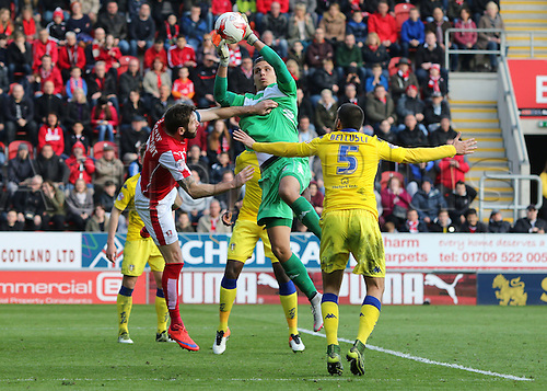 02.04.2016. New York Stadium, Rotherham England.  Sky Bet Championship Rotherham versus Leeds United. Leeds Marco Silvestri control of the crossed ball