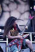 Pantera - guitarist Dimebag Darrell Abbott - performing live on the Main Stage at the 1997 Ozzfest held at Gians Stadium in East Rutheford NJ USA - Jun 15,1997.  Photo credit: Eddie Malluk/IconicPix