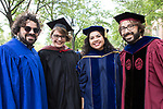 New faculty members Rob Adler, left, mathematics; Michelle Lopez-Rios, theatre; Ester Trujillo, Latino studies; and Phil Yates, mathematics, assemble in the Quad before processing to the 120th DePaul University Convocation on Thursday, August 31, 2017, at St. Vincent de Paul Parish Church. (DePaul University/Jeff Carrion)