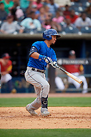 Durham Bulls Michael Perez (7) at bat during an International League game against the Toledo Mud Hens on July 16, 2019 at Fifth Third Field in Toledo, Ohio.  Durham defeated Toledo 7-1.  (Mike Janes/Four Seam Images)