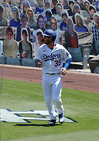 25th July 2020, Los Angeles, California, USA;  Los Angeles Dodgers outfielder Cody Bellinger (35) looks on after scoring a run in the first inning during the game against the San Francisco Giants on July 25, 2020, at Dodger Stadium in Los Angeles, CA.