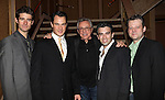 Frankie Valli with 'Jersey Boys' cast: Matt Bogart, Drew Gehling, Jarrod Spector and Jeremy Kushnier attend the reception for Frankie Valli and the Four Seasons  50th Anniversary Celebration & Broadway debut in 'The One. The Only. The Original.' at the Broadway Theatre on 10/19/2012 in New York City.