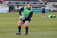 Ewan McQuillin of London Scottish warms up ahead of the Greene King IPA Championship match between London Scottish Football Club and Jersey at Richmond Athletic Ground, Richmond, United Kingdom on 18 February 2017. Photo by David Horn / PRiME Media Images.