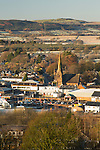 Looking down on Lockerbie on a frost cold winter morning from Mounthoolie hill above the town, Annandale, Scotland, UK. Looking down on the Holy Trinity Roman Catholic Church in the centre of town.