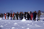 Bird watchers on field trip, winter