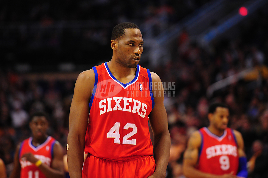 Dec. 28, 2011; Phoenix, AZ, USA; Philadelphia 76ers forward Elton Brand during game against the Phoenix Suns at the US Airways Center. The 76ers defeated the Suns 103-83. Mandatory Credit: Mark J. Rebilas-USA TODAY Sports