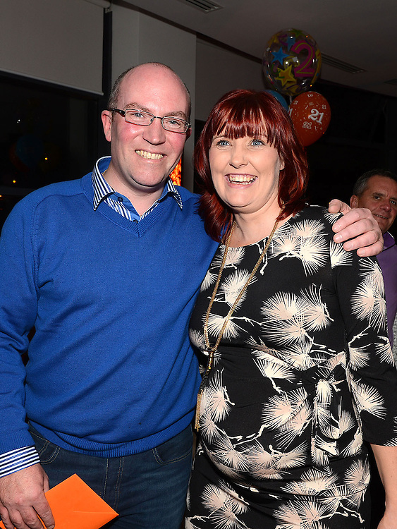Pierce Martin celebrating his 40th birthday in Brú with partner Claire. Photo:Colin Bell/pressphotos.ie