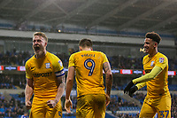Tom Clarke of Preston North End (left) celebrates scoring his side's winning goal during the Sky Bet Championship match between Cardiff City and Preston North End at the Cardiff City Stadium, Cardiff, Wales on 29 December 2017. Photo by Mark  Hawkins / PRiME Media Images.