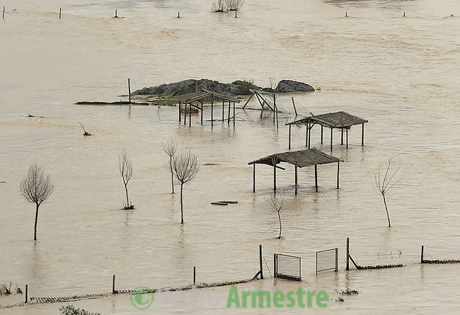 A park Montoro, near Cordoba's been flooded by the river Guadalquivir on January 06, 2010. Heavy rain and snowfall forced the closure of about 30 roads in Spain on December 31, 2009, mainly in the country's southwest where fields and homes have been flooded in recent days. (c)Pedro ARMESTRE
