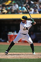 OAKLAND, CA - JUNE 22:  Beau Taylor #46 of the Oakland Athletics bats against the Tampa Bay Rays during the game at the Oakland Coliseum on Saturday, June 22, 2019 in Oakland, California. (Photo by Brad Mangin)